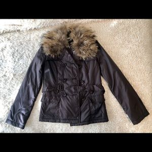 Joie Coat with Removable Fur Collar